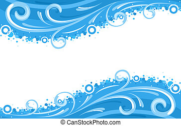 Water waves borders - isolated over white background. Vector file saved as EPS AI8, all elements grouped, layered, no gradients, no effects, clean print.