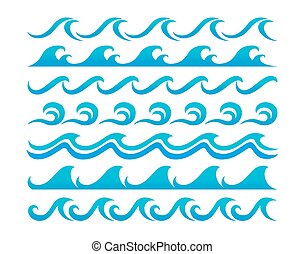 Water waves design elements vector set - Blue ocean waves...