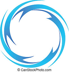 water waves logo vector - Water waves around a circle