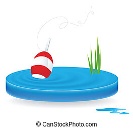 fishing icon as blue water waves with red bobber