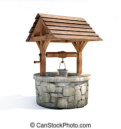 water well 3d illustration on white background