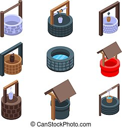 Water well icons set, isometric style