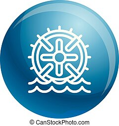 Water wheel energy icon, outline style - Water wheel energy...