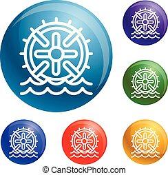 Water wheel energy icons set vector