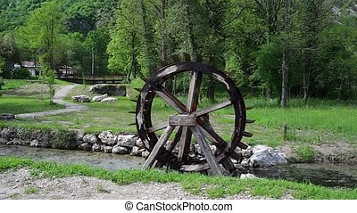 Water wheel in the river