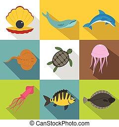 Water wildlife icon set, flat style