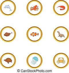 Water wildlife icons set, cartoon style