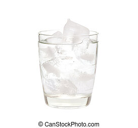 Water with ice in a glass isolated on a white background