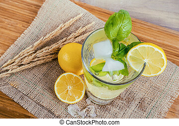 Water with lemon and basil