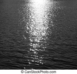 Water with reflection of the sun.