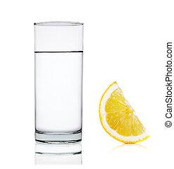 water, witte , citroen, vrijstaand, achtergrond