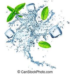 water, witte , gespetter, vrijstaand, achtergrond