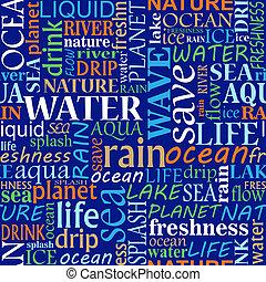 water, wolk, label, seamless, woorden