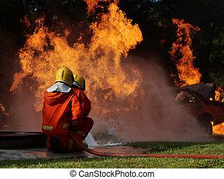 water, workshop, vuur, verpulveren, burning, opleiding, auto, brandweerman