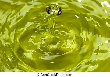 drop - Water world - Falling a drop of water in yellow