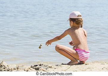 water, zand, rivier, gooien, meisje