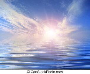 water, zon achtergrond
