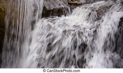 Waterall Splashing Loop - A waterfall, filmed close and...