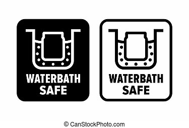 """""""Waterbath safe"""" resistant dishes information sign"""