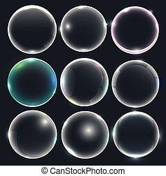waterbellen, set, zeep, of