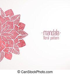 watercolor, 植物群的模式, 背景, 粉红色, 白色, 带子