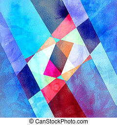 Watercolor abstract background with different geometric...