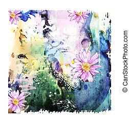 watercolor, abstract, bloemen, achtergrond