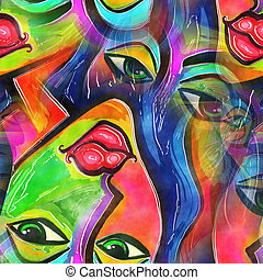 Watercolor Abstract Face of a Woman