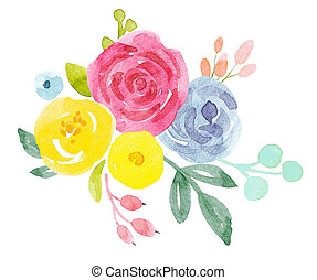 Watercolor abstract floral composition