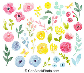 Watercolor abstract floral set