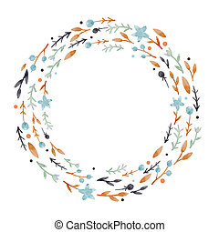 Watercolor abstract floral wreath