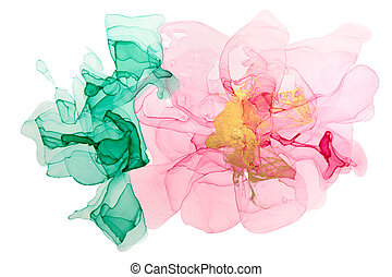 Watercolor abstract pink flower on white background.