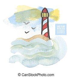 watercolor, afdrukken, met, vuurtoren, op, de, witte achtergrond, aquarelle., hand-drawn, vector, illustration.