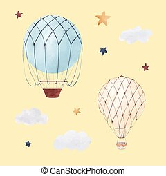 Watercolor air baloon illustration - Beautiful illustration...
