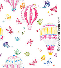 Watercolor air baloon pattern - Beautiful seamless pattern...
