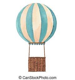 Watercolor air baloon vector illustration - Beautiful air...