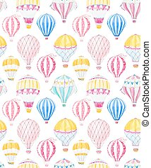 Watercolor air baloon vector pattern - Beautiful vector...