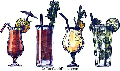 watercolor alcohol cocktails set - Vector ink drawing and...