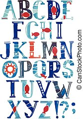 Watercolor alphabet in marine style. Vector with colorful letters. Hand drawn font