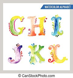 Watercolor Alphabet. Watercolor Font. ABC Painted Letters. In vector