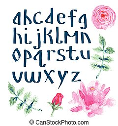Watercolor alphabet with flowers