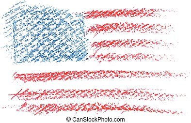 Watercolor american flag. Vector