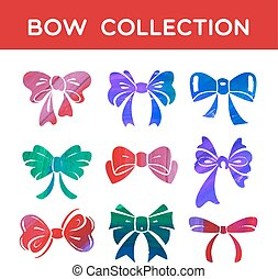 Watercolor and acrylic set of silhouettes bow ribbon
