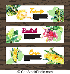Watercolor and sketch vegetables organic food horizontal banner