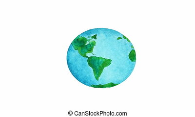 planet Earth - watercolor animation, planet Earth over white...