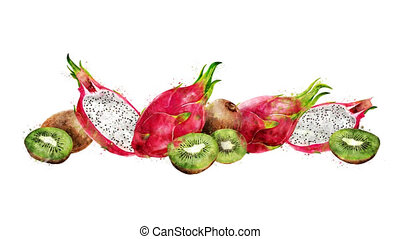 Watercolor appearance animation of the dragon fruit and kiwi...