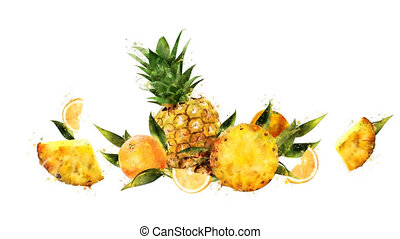 Watercolor appearance animation of the pineapple and orange...