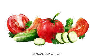 Watercolor appearance animation of the tomato and cucumber...