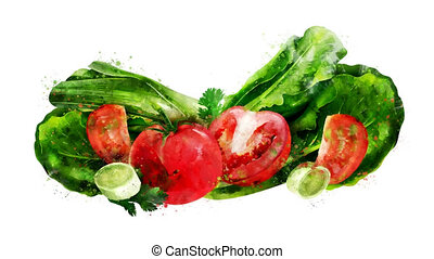 Watercolor appearance animation of the tomato, salad and...