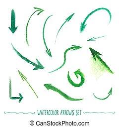 Watercolor arrows set